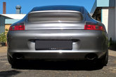 Rear view of a fibreglass duck tail mounted on a Porsche 996 Carrera Targa